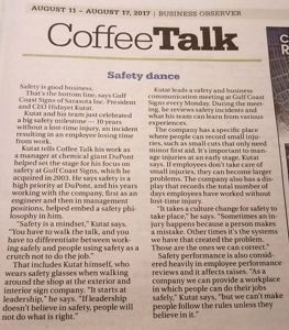 Safety article in the Business Observer